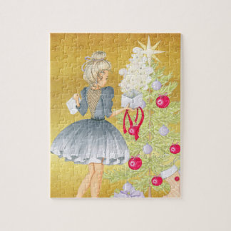 Magic of Christmas - Blonde Decorating A Tree Jigsaw Puzzle