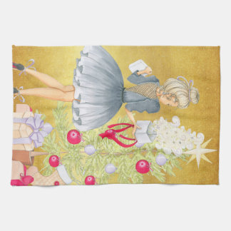 Magic of Christmas - Blonde Decorating A Tree Kitchen Towel