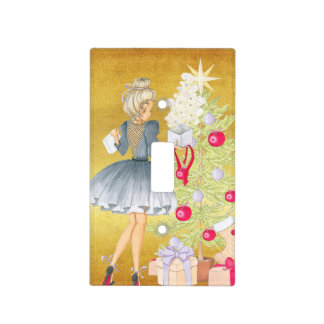 Magic of Christmas - Blonde Decorating A Tree Light Switch Cover