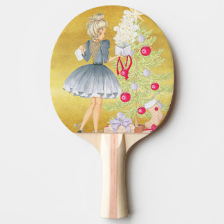 Magic of Christmas - Blonde Decorating A Tree Ping Pong Paddle