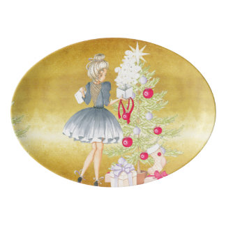 Magic of Christmas - Blonde Decorating A Tree Porcelain Serving Platter