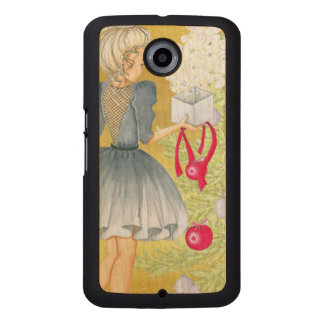 Magic of Christmas - Blonde Decorating A Tree Wood Phone Case