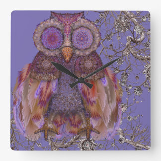 Magic owl.Collage with lace and feathers Clock