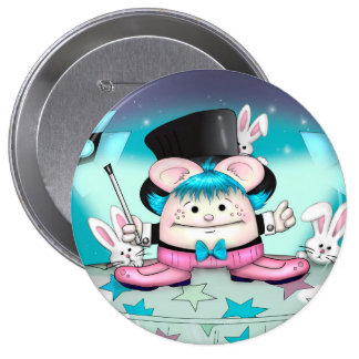 MAGIC PET CUTE CARTOON   Button Huge, 4 Inch