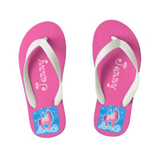Magic Pink Cute Unicorn with wings personalize Kid's Flip Flops