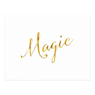 Magic Quote Faux Gold Foil Quotes Humor Sparkly Postcard