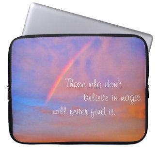 """Magic"" quote rainbow sunrise photo laptop sleeve"