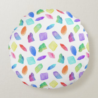 Magic Rainbow Crystals Colorful Crystal Gems Stone Round Pillow