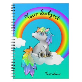 Magic Rainbow Unicorn School Subject Customizable Notebook