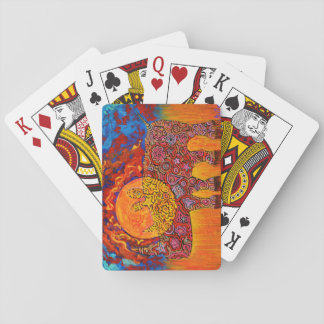Magic Rhyno and sunset Playing Cards