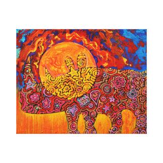 Magic rhyno in sunset - Magic creature Art Canvas Print