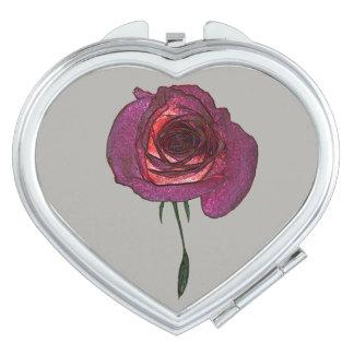 Magic Rose Heart Compact Mirror
