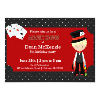 "Magic Show birthday party 5"" X 7"" Invitation Card"