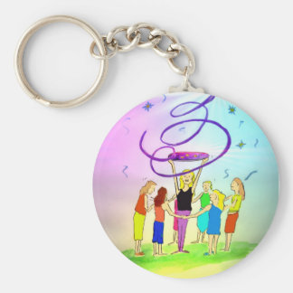 magic spell basic round button keychain