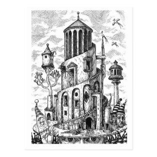 Magic tower on hat postcard