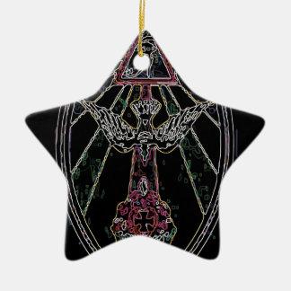 Magic tshirt ceramic star ornament