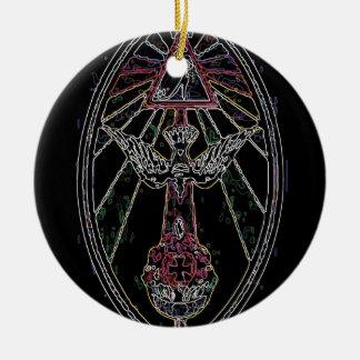 Magic tshirt round ceramic ornament
