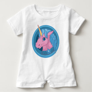 Magic Unicorn cartoon baby illustration Cute horse Baby Romper