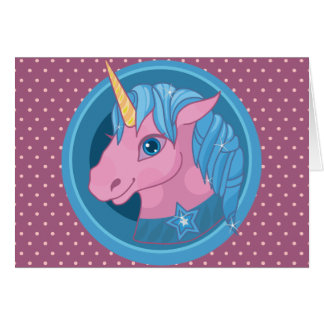 Magic Unicorn cartoon baby illustration Cute horse Card