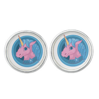 Magic Unicorn cartoon baby illustration Cute horse Cufflinks
