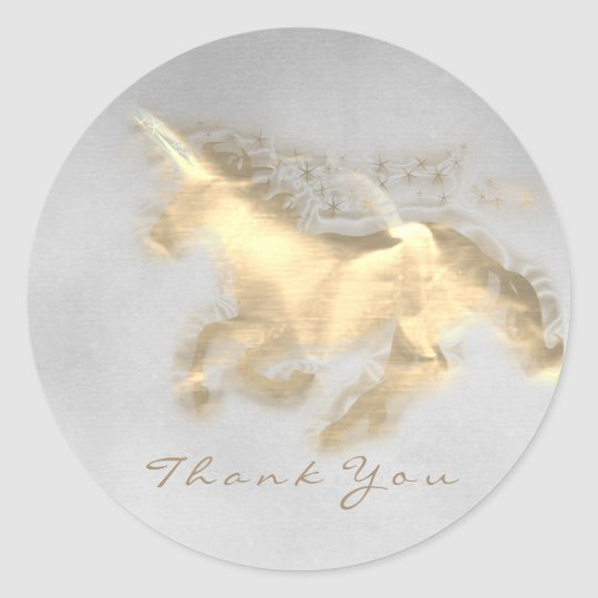 Magic Unicorn Gold Stars Thank Grey Grungy Ombre Classic Round Sticker