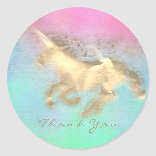 Magic Unicorn Gold Stars Thank You Mint Ombre Classic Round Sticker