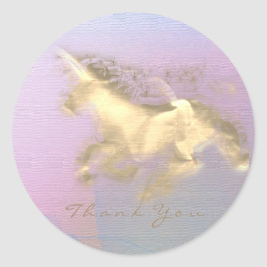 Magic Unicorn Gold Stars Thank You Pink  PurpOmbre Classic Round Sticker