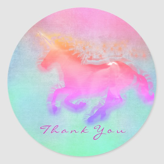 Magic Unicorn Hearts Stars Thank You Mint Ombre Classic Round Sticker
