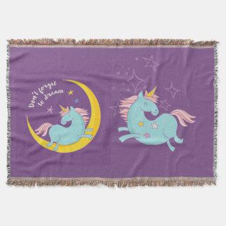 Magic Unicorn Moon and Stars Throw Blanket