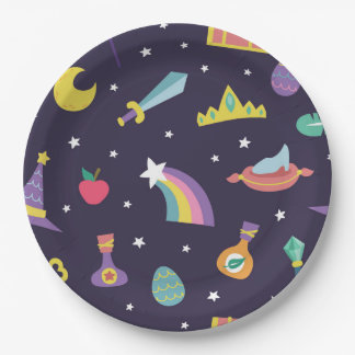 MAGIC WIZARD FAIRY TALE ELEMENTS blue background Paper Plate