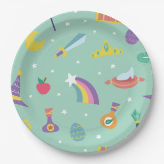 MAGIC WIZARD FAIRY TALE ELEMENTS mint background Paper Plate