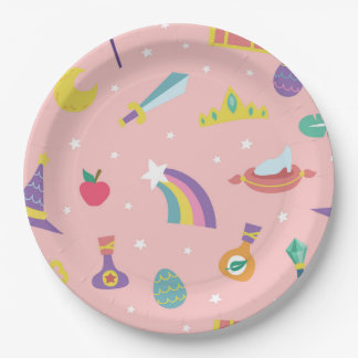 MAGIC WIZARD FAIRY TALE ELEMENTS pink background 9 Inch Paper Plate