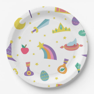 MAGIC WIZARD FAIRY TALE ELEMENTS white background 9 Inch Paper Plate
