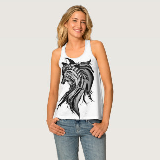 Magic Wolf, Black and White Tank Top