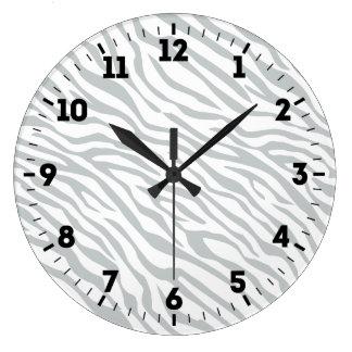 Magic Zebra Stripes Click to Customize Grey Color Large Clock