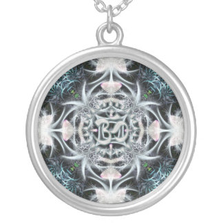 Magical Aum Fractal Art Silver Plated Necklace