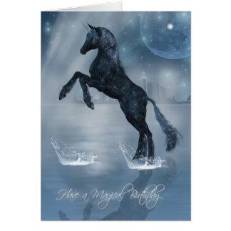 Magical birthday dark fantasy Unicorn Greeting Card