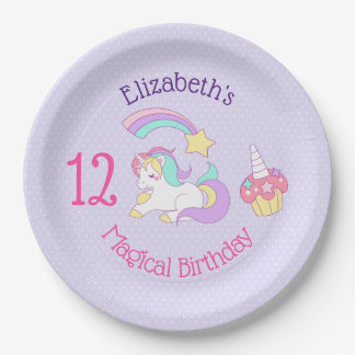 Magical Birthday Unicorn Shooting Star & Cupcake Paper Plate