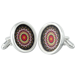 Magical Black and Red Mandala Cufflinks
