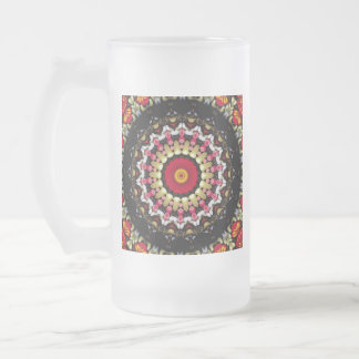 Magical Black and Red Mandala Frosted Glass Beer Mug