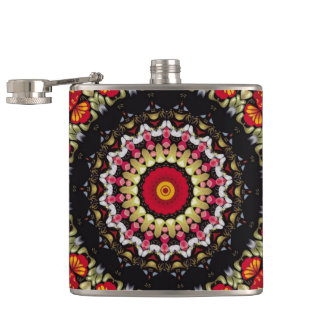 Magical Black and Red Mandala Hip Flask