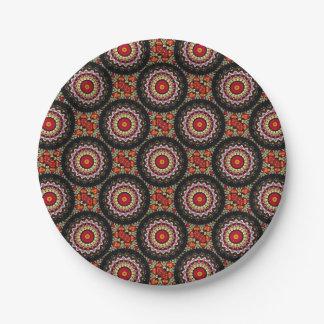 Magical Black and Red Mandala Paper Plate