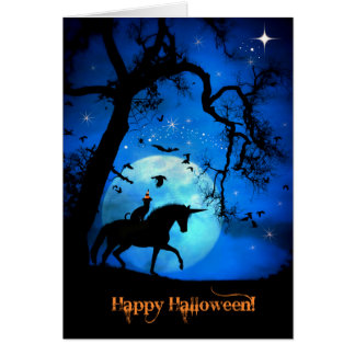 Magical Black Cat And Unicorn Happy Halloween Card