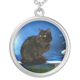 Magical Black Cat Silver-Plated Round Necklace