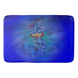Magical Blue Plumage Fashion Owl Bath Mat