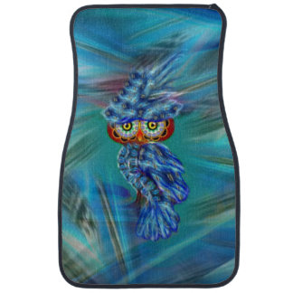 Magical Blue Plumage Fashion Owl Car Mat