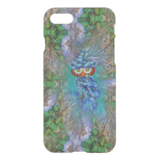 Magical Blue Plumage Owl Tree Bark iPhone Case
