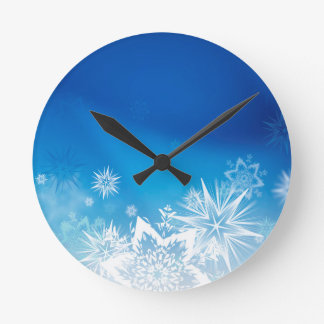 Magical Blue winter design Round Clock