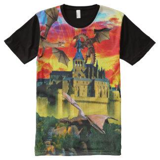 Magical castle under a dragon siege