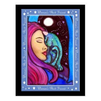 Magical Cat Woman's Best Friend Postcard